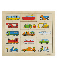 puzzel - match & mix transport puzzel - transport - mixen - matchen - hout - speelgoed - houten speelgoed - 24 stukjes - peuter - kleuter - dn houten tol - de mouthoeve - boekel - winkel - beleduc