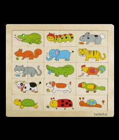 puzzel - dieren - match & mix dieren - hout - peuter - kleuter - speelgoed - houten speelgoed - dn houten tol - de mouthoeve - boekel - winkel - beleduc