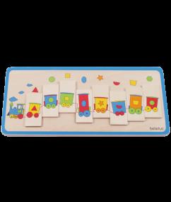 "trein - legpuzzel trein - Matching Puzzle ""Train"" - vormentrein - beleduc - peuter - kleuter - hout - puzzel - speelgoed - houten speelgoed - dn houten tol - de mouthoeve - boekel - winkel"