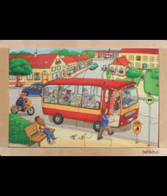 """puzzel - legpuzzel stad van beleduc - Frame Puzzle """"Town"""" - speelgoed - houten speelgoed - peuter - kleuter - dn houten tol - de mouthoeve - boekel - winkel - beleduc"""