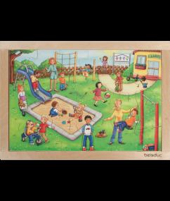 "puzzel - 24 stukjes - legpuzzel speeltuin - Frame Puzzle ""Kindergarten"" - hout - speelgoed - houten speelgoed - dn houten tol - de mouthoeve - boekel - winkel - beleduc - peuter - kleuter"