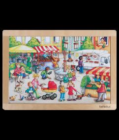 """puzzel - legpuzzel op de markt - Frame Puzzle """"Market"""" - hout - speelgoed - houten speelgoed - beleduc - 24 stukjes - dn houten tol - de mouthoeve - boekel - winkel - kleuter - peuter"""