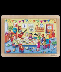 "legpuzzel verjaardag - Frame Puzzle ""Birthday Party"" - puzzel - hout - 24 stukjes - peuter - kleuter - speelgoed - houten speelgoed - dn houten tol - de mouthoeve - boekel - winkel - beleduc"