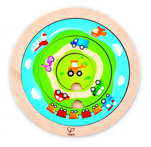 E1605 - puzzel - auto puzzel - spinning transport puzzle - draai transport puzzel - hout - peuter - kleuter - speelgoed - houten speelgoed - dn houten tol - de mouthoeve - boekel - winkel - hape