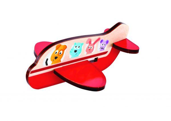 puzzel - 3d vliegtuig puzzel - 3d airplane puzzle - e1611 - hout - speelgoed - houten speelgoed - dn houten tol - de mouthoeve - boekel - winkel - hape - peuter - kleuter