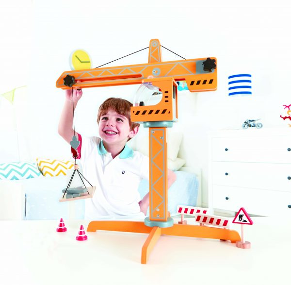 crane lift van hape - hijskraan - hout - Bouwen - speelgoed - houten speelgoed - e3011 - dn houten tol - de mouthoeve - boekel - winkel - hape - peuter - kleuter