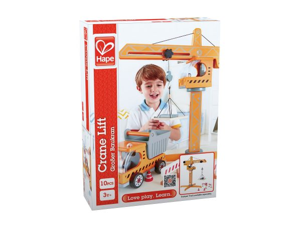 hijskraan - hout - Bouwen - speelgoed - houten speelgoed - e3011 - dn houten tol - de mouthoeve - boekel - winkel - hape - peuter - kleuter