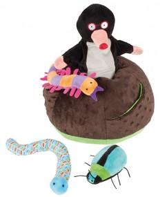 Mike de mol - Mike - handpoppen - pluche - houten speelgoed - speelgoed - dn houten tol - de mouthoeve - boekel - beleduc - hape - peuter - kleuter - demente bejaarden - mol - insecten