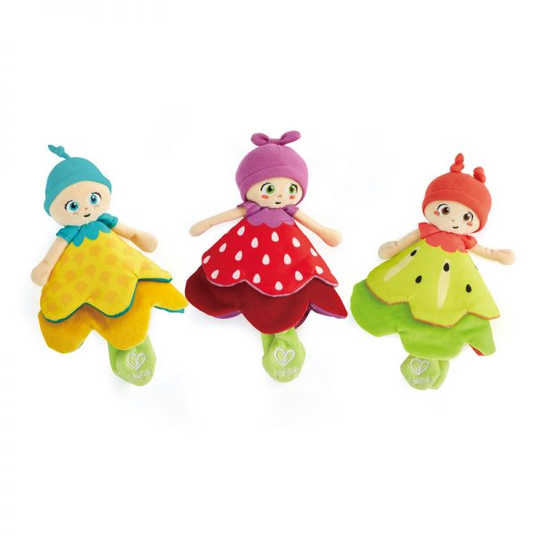 Bloemen kindje geel - flowerini - hape - stof - speelgoed - houten speelgoed - dn houten tol - baby - de mouthoeve - boekel - winkel - E0028