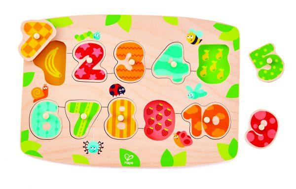 puzzel - nummer puzzel - number peg puzzle - hout - speelgoed - houten speelgoed - dn houten tol - de mouthoeve - boekel - hape - E1404 - peuter - kleuter - cijfers
