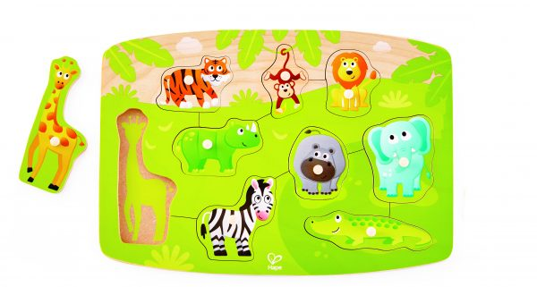 E1405 - puzzel - jungle puzzel - jungle peg puzzel - hout - speelgoed - houten speelgoed - baby - peuter - dn houten tol - de mouthoeve - boekel - winkel - hape