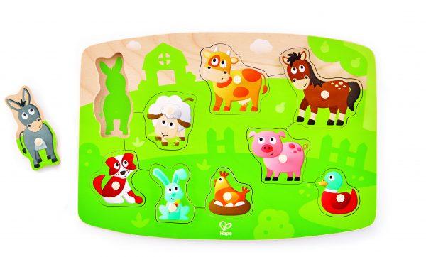 E1408 - puzzel - boederij puzzel - farmyard peg puzzel - hout - speelgoed - houten speelgoed - peuter - baby - dn houten tol - de mouthoeve - boekel - hape - winkel - dieren puzzel