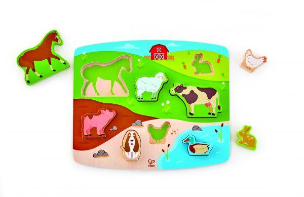 puzzel - boederijdieren puzzel en Speel - farm animal puzzle & play - E1454 - speelgoed - houten speelgoed - hape - dn huten tol - de mouthoeve - boekel - winkel - peuter - dreumes