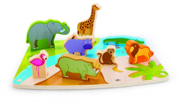 puzzel - wilde dieren puzzel en Speel - wild animal puzzle & play - hout - speelgoed - houten speelgoed - hape - dn houten tol - de mouthoeve - boekel - winkel - peuter - dreumes - E1455