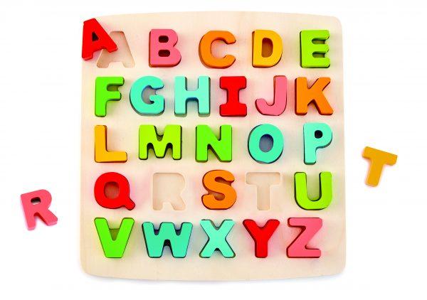E1551 - puzzel - alfabet puzzel - chunkcy alphabet puzzle - hout - speelgoed - letters - houten speelgoed - dn houten tol - de mouthoeve - boekel - winkel - hape - kleuter - peuter