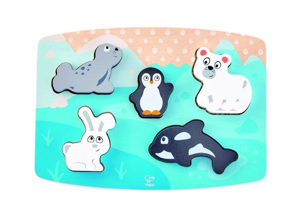 noordpool puzzel - polar animal tactile puzzle - hout - dieren puzzel - speelgoed - houten speelgoed - dn houten tol - de mouthoeve - boekel - winkel - E1620 - hape - dreumes- peuter