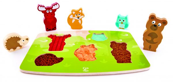 bosdieren puzzel - puzzel - forest animal tactile puzzle - hout - stof - aai puzzel - speelgoed - houten speelgoed - dn houten tol - de mouthoeve - boekel - winkel - hape - E1621 - dreumes - peuter