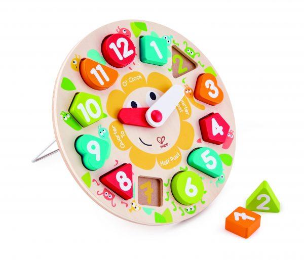 E1622 - puzzel - klok puzzel - chuncky clock puzzle - hout - klokkijken - hout - speelgoed - houten speelgoed - dn houten tol - kleuter - de mouthoeve - boekel - winkel - hape