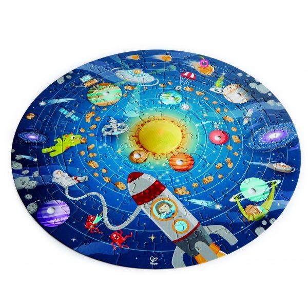 E1625 - puzzel - spellen - hout - solar system puzzle - zonnestelselpuzzel - ronde puzzel - hape - speelgoed - houten speelgoed - dn houten tol - de mouthoeve - boekel - winkel