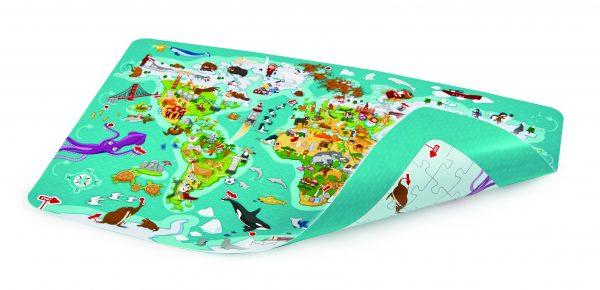 puzzel - spel - spellen - 2 in 1 wereld spel en puzzel - 2 in 1 world tour puzzle - hout - houten speelgoed - speelgoed - dn houten tol - mouthoeve - boekel - winkel - E1626 - poster - spel met poster - hape - wereld spel