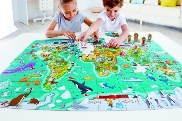 puzzel - spel - spellen - 2 in 1 wereld spel en puzzel - 2 in 1 world tour puzzle - hout - houten speelgoed - speelgoed - dn houten tol - mouthoeve - boekel - winkel - E1626 - hape - wereld spel
