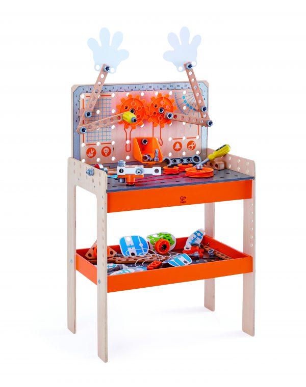 luxe wetenschappelijke werkbank - deluxe scientific workbench - hout - kunststof - speelgoed - houten speelgoed - kleuten - vanaf 4 jaar - experimenten - dn houten tol - hape - de mouthoeve - boekel - E3027 - 15 experimenten