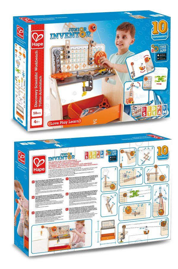 ontdekkings werkbank - discovery scientific workbench - hout - kunststof - speelgoed - houten speelgoed - leerzaam speelgoed - ontdekken - dn houten tol - de mouthoeve - boekel - hape - kleuter - vanaf 4 jaar - E3028