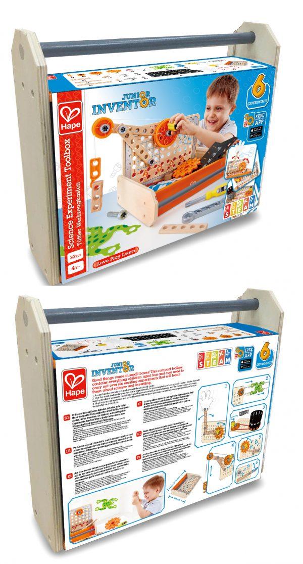 ontdekkings box - science experiment toolbox - hape - E3029 - hout - kunststof - speelgoed - houten speelgoed - kleuter - vanaf 4 jaar - dn houten tol - de mouthoeve - boekel - winkel
