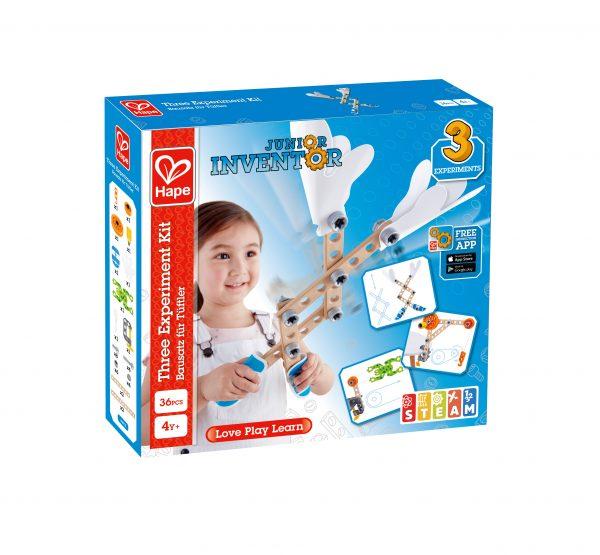 3 experimenten box - three experiment kit - hape - hout - kunststof - speelgoed - houten speelgoed - dn houte tol - de mouthoeve - boekel - winkel - E3030 - kleuter - vanaf 4 jaar - experimenten - wetenschappelijk