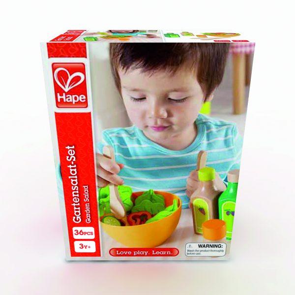 kleurrijke frisse salade - garden salad - hape - E3116 - speelgoed - houten speelgoed - keukentje - houten salade - dn houten tol - de mouthoeve - boekel - winkel