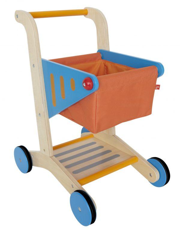 winkelwagentje - shopping cart - hape - E3123 - speelgoed - houten speelgoed - dn houten tol - de mouthoeve - boekel - winkel - stof - hout - child