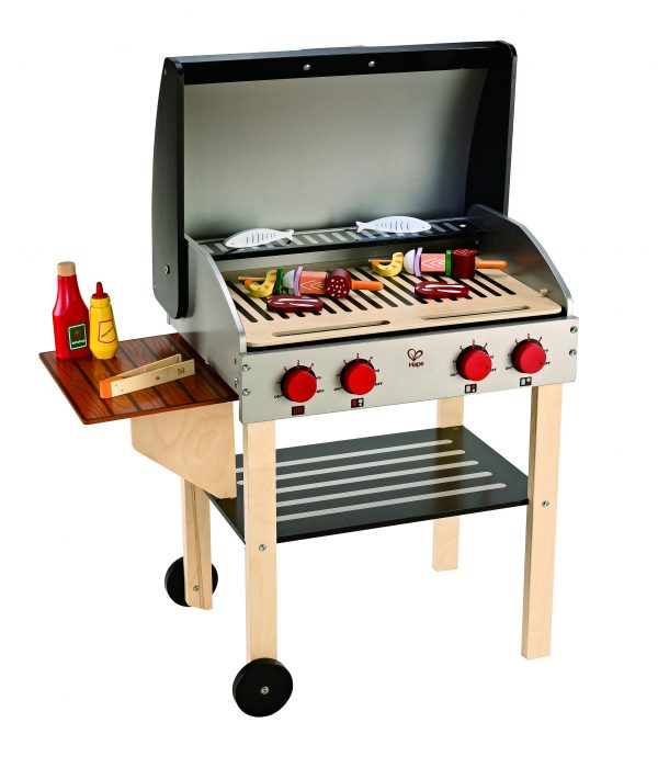 barbecue - bbq - kinder bbq - kinder barbecue - gourmet grill - speelgoed - houten speelgoed - hape - E3127 - peuter - kleuter - vanaf 3 jaar - dn houten tol - de mouthoeve - boekel - winkel - child