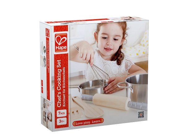 keukentje - child - chefs pannenset - chefs cooking set - hape - E3137 - speelgoed - hout - metaal - houten speelgoed - peuter - kleuter - vanaf 3 jaar - dn houten tol - de mouthoeve - boekel - winkel