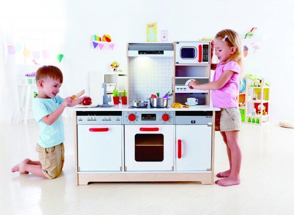 hape- peuter - kleuter - vanaf 3 jaar - keukentje - child - alles in 1 keukent - all in 1 kitchen - speelgoed - houten speelgoed - E3145 - kitchen - dn houten tol - de mouthoeve - boekel - winkel