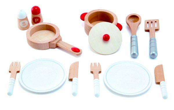Cook & serve set -Koken & serveren - speelgoed - houten speelgoed - peuter - kleuter - vanaf 3 jaar - hape - E3150 - pannen - keukentje - dn houten tol - de mouthoeve - boekel - winkel