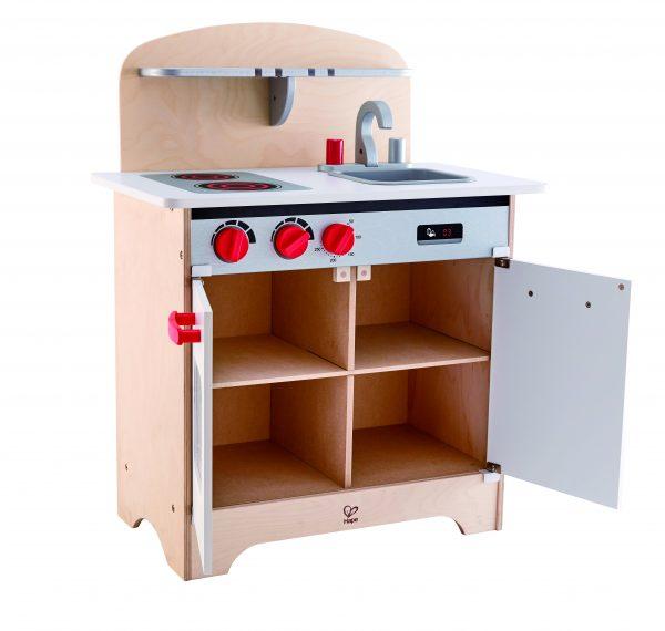witte gourmet keuken - white gourmet kitchen - hape - hout - pannen - keukentje - E3152 - speelgoed - houten speelgoed - dn houten tol - de mouthoeve - boekel - winkel - peuter - kleuter - vanaf 3 jaar