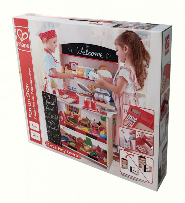 winkeltje - winkel - child - pop up winkel - pop up shop - speelgoed - houten speelgoed - hape - E3159 - dn houten tol - de mouthoeve - boekel - pinnen - scannen