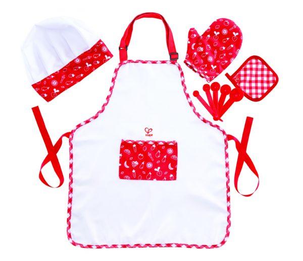 chefkok set - chef pack - schort -keukenshort - speelgoed - houten speelgoed - stof - dn houten tol - de mouthoeve - boekel - hape - E3162 - child