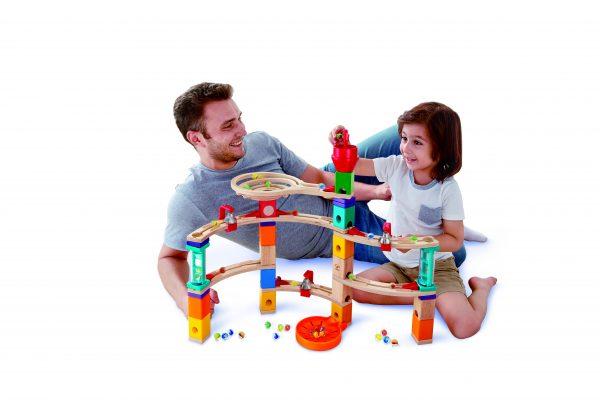 knikkerbaan - kasteelbaan - castle escape - hape - E6019 - speelgoed - houten speelgoed - kinder speelgoed - kleuter - vanaf 4 jaar - dn houten tol - de mouthoeve - boekel - hout - knikker