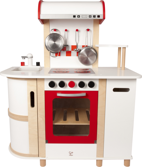 keukentje - multifunctionele keuken - multi function kitchen - hout - pannen - koken - hape - E8018 - dn houten tol - de mouthoeve - boekel - peuter - kleuter - vanaf 3 jaar