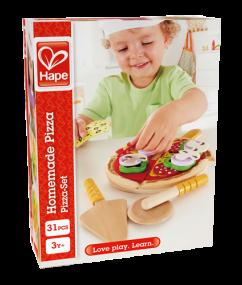 pizza - pizza set - homemade pizza - hape - E3129 - speelgoed - houten speelgoed - peuter - kleuter - vanaf 3 jaar - dn houten tol - de mouthoeve - boekel - winkel
