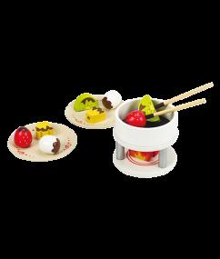 chocolade fondue - chocolate fondue - hout - speelgoed - houten speelgoed - E3132 - hape - peuter - kleuter - vanaf 3 jaar - dn houten tol - de mouthoeve - boekel - winkel - keuken - child - kinder keuken