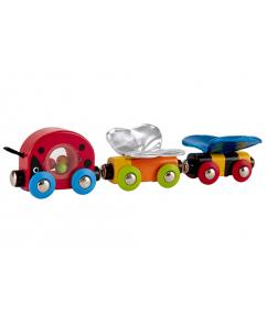 vlinder trein - trein - houten trein - lieveheersbeestje trein - lucky ladybug and friends train - speelgoed - houten speelgoed - hout - hape - E3806 - dn houten tol - de mouthoeve - boekel - winkel