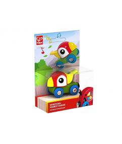 papegaai trein - fluit papegaai trein - whistling parrot engine - hape - trein - hout - speelgoed - houten speelgoed - dn houten tol - de mouthoeve - boekel - winkel - E3808