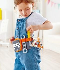 gereedschapsriem - scientific tool belt - gereedschap - hout - kunststof - stof - hape - speelgoed - houten speelgoed - kleuter - vanaf 4 jaar - dn houten tol - de mouthoeve - boekel - winkel - E3035 - leerzaam