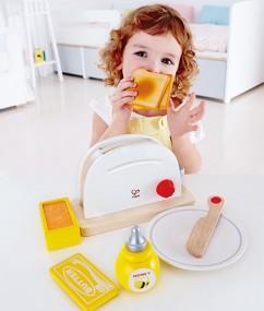 rooster - broodrooster - pop up toaster set - hout - speelgoed - houten speelgoed - peuter - kleuter - hape - E3148 - dn houten tol - de mouthoeve - boekel - peuter - kleuter - keukentje - dn houten tol - de mouthoeve - boekel - winkel