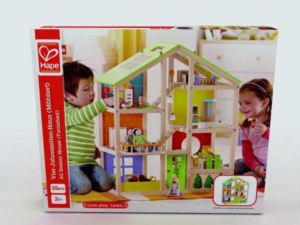 poppenhuis- all season house - All Season House -gemeubileerd - speelgoed - houten speelgoed - kinder speelgoed - hape - E3401 - gemeubileerd - peuter - kleuter - vanaf 3 jaar - dn houten tol - de mouthoeve - boekel - winkel - bol.com