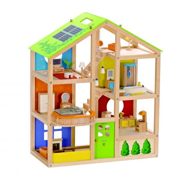 cadeau - kado - poppenhuis- all season house - All Season House -gemeubileerd - speelgoed - houten speelgoed - kinder speelgoed - hape - E3401 - gemeubileerd - peuter - kleuter - vanaf 3 jaar - dn houten tol - de mouthoeve - boekel - winkel - bol.com