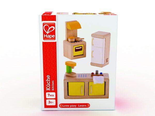 poppenhuis - keuken - kitchen - hape - E3453 - speelgoed - houten speelgoed - kado - cadeau - verjaardagscadeau - verjaardagskado - peuter - kleuter - vanaf 3 jaar- dn houten tol - de mouthoeve - boekel - winkel