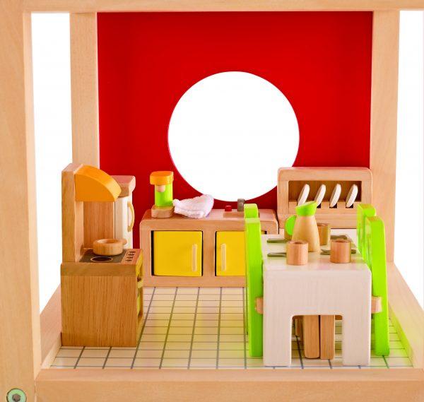 eetkamer - poppenhuis - dining room - hape - E3454 - speeelgoed - houten speelgoed - peuter - kleuter - child - kinderen- cadeau - kado - verjaardagskado - verjaardagscadeau - dn houten tol - de mouthoeve - boekel - winkel